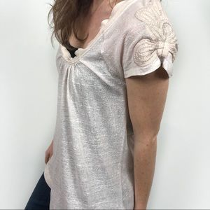 Anthro Pilcro Embroider Short Sleeve Top